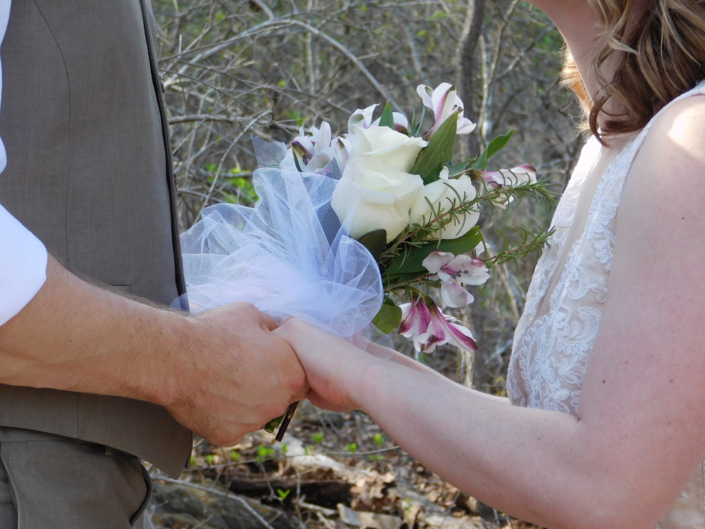 Couple holding hands during their elopement ceremony in our garden