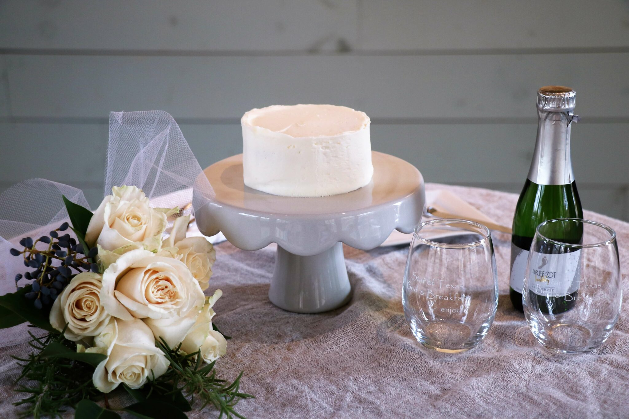 wedding cake, flowers and champagne