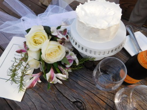 Petite wedding cake and flowers for an elopement