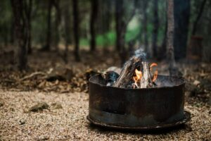 Rustic fire pit with burning campfire surrounded by trees