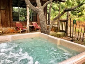 Private hot tub at Oak Cottage