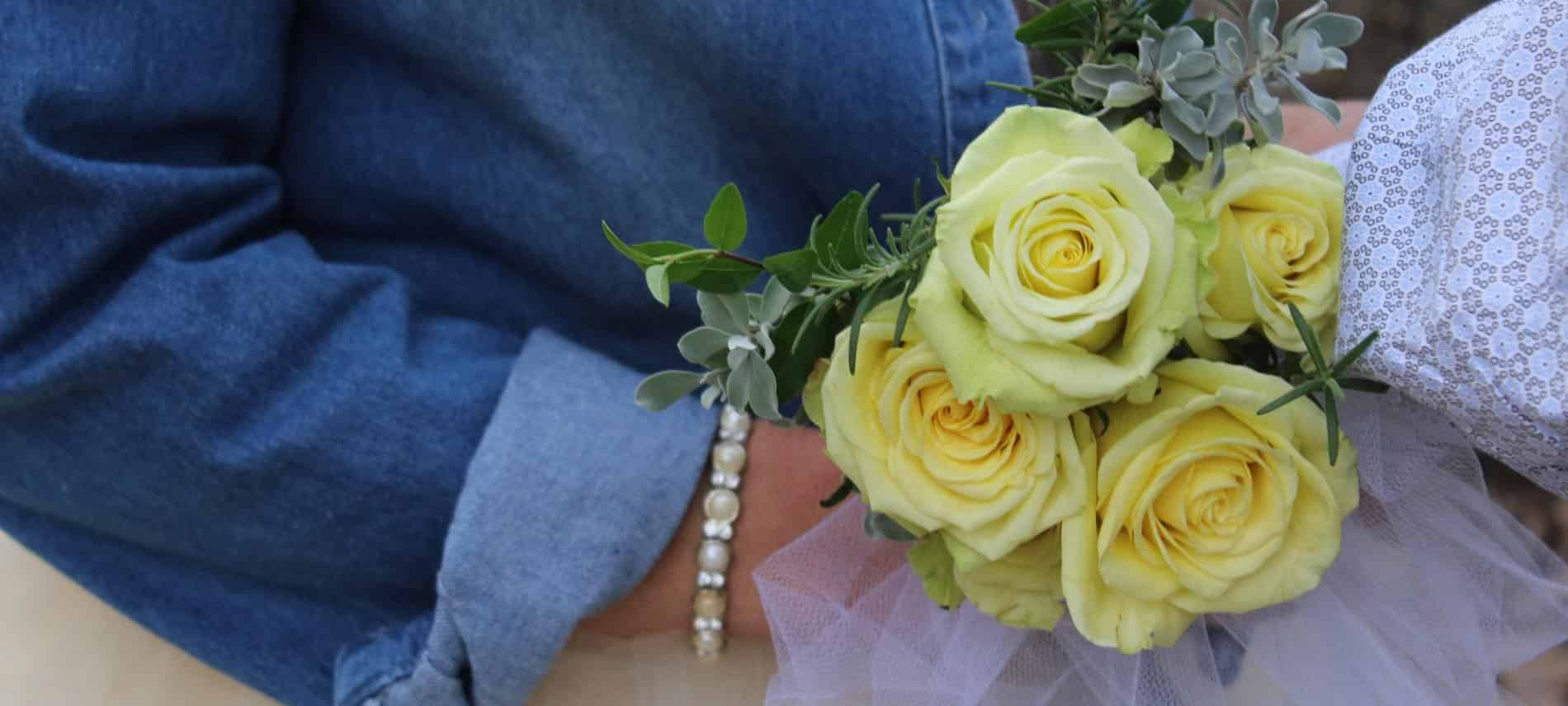 rose bouquet held by a bride on her elopement